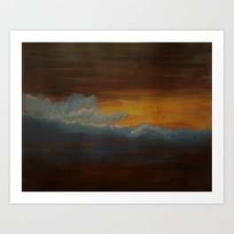 Abstract Art Clouds in the sky Sunset Acrylic painting on Canvas Art Print