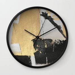 Gold leaf black abstract Wall Clock