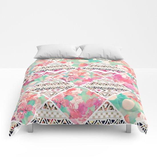 Aztec Floral  Diamond Comforters