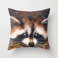 raccoon Throw Pillows featuring Raccoon by Patrizia Ambrosini