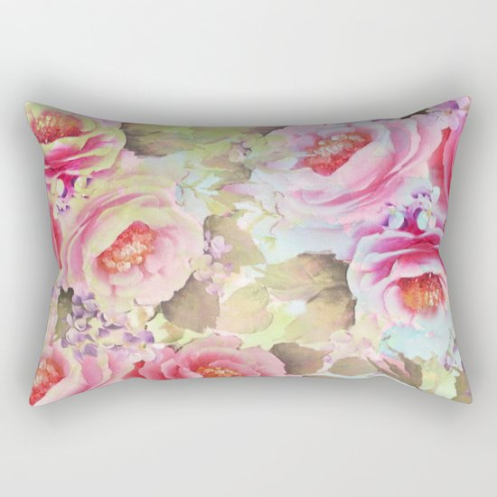 floral in soft pink,blue and green Rectangular Pillow