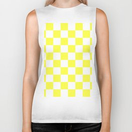 Cheerful Yellow Checkerboard Pattern Biker Tank