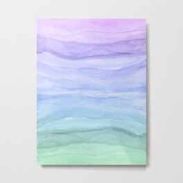 Layers Blue Ombre - Watercolor Abstract Metal Print