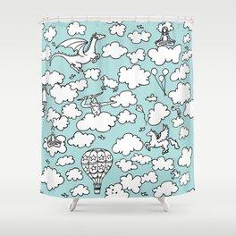 Doodle Clouds Pattern Shower Curtain