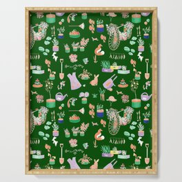 Vintage Garden on Forest Green Serving Tray