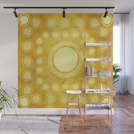 """Gold & Yellow Ethnic Sun Mandala"" Wall Mural"