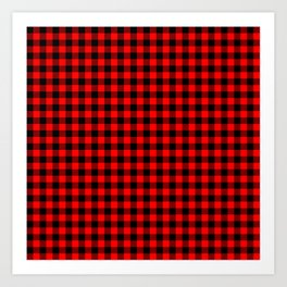 Classic Red Country Cottage Summer Buffalo Plaid Art Print