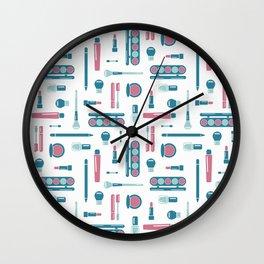 Cosmetic Items Repeating Pattern Wall Clock