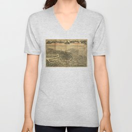 Aerial View of Northern Stockton, California (1895) Unisex V-Neck