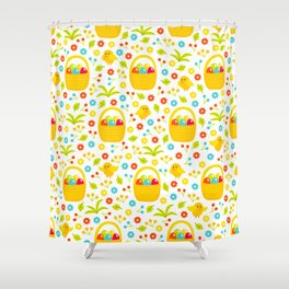 Easter Egg Basket With Little Chicks Pattern Shower Curtain