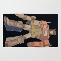 optimus prime Area & Throw Rugs featuring Optimus Black by colleencunha