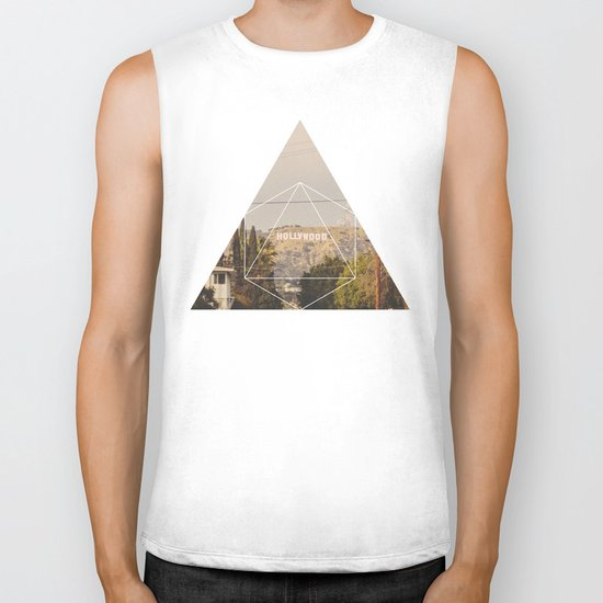 Hollywood Sign - Geometric Photography Biker Tank