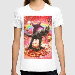 Space Sloth Riding Dinosaur Unicorn - Pizza & Taco T-shirt