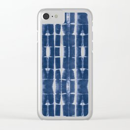 Shibori Stripes 3 Indigo Blue Clear iPhone Case