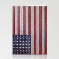 american flag Stationery Cards featuring American Flag by Emily Lanier