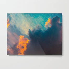 Beautiful Colorful Cotton Candy Clouds Blue Orange hues Ombre Gradient Fluffy Cotton Candy Texture Metal Print