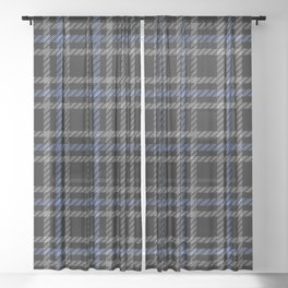 Blue and White Plaid Sheer Curtain