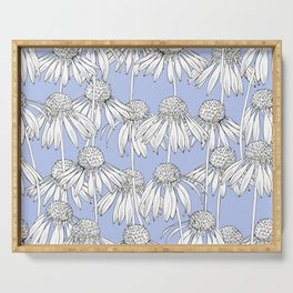Realistic Daisy pattern on a blue background. Serving Tray