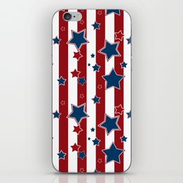 Blue stars, red striped iPhone Skin