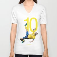 zlatan V-neck T-shirts featuring Zlatan Ibrahimović Sweden Bicycle Kick Print by graphics17