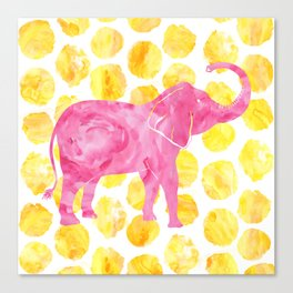 Pink Watercolor Elephant on Yellow Dots Canvas Print