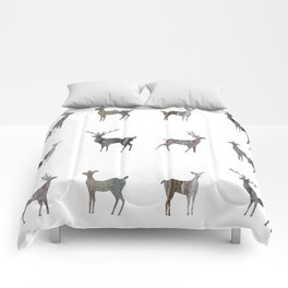 deer silhouette stag black bark with lichen Comforters