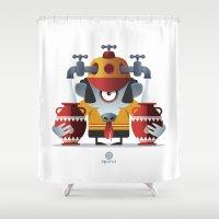 aquarius Shower Curtains featuring AQUARIUS by Angelo Cerantola