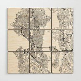 Seattle White Map Wood Wall Art