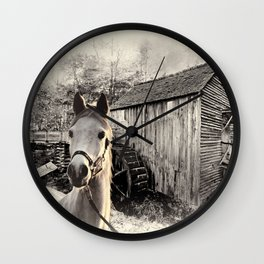 Horse At The Old Mill Wall Clock