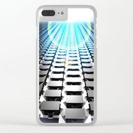blue field with cubes Clear iPhone Case