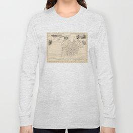 Vintage Map of Perth Scotland (1851) Long Sleeve T-shirt