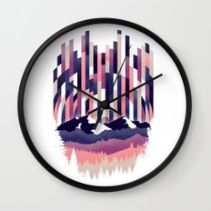 Sunrise in Vertical - Winter Purple Wall Clock