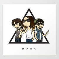 30 seconds to mars Art Prints featuring 30 Seconds to Cartoon by Chiara Wepfer