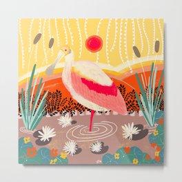 Roseate Spoonbill in the Sunset Metal Print