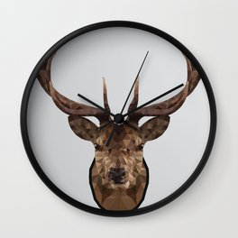 Low Poly Wild Stag Wall Clock