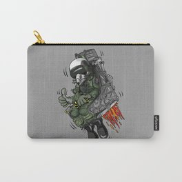 Military Fighter Jet Pilot Ejection Seat Cartoon Illustration Carry-All Pouch
