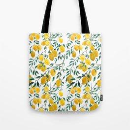watercoor yellow lemon pattern Tote Bag