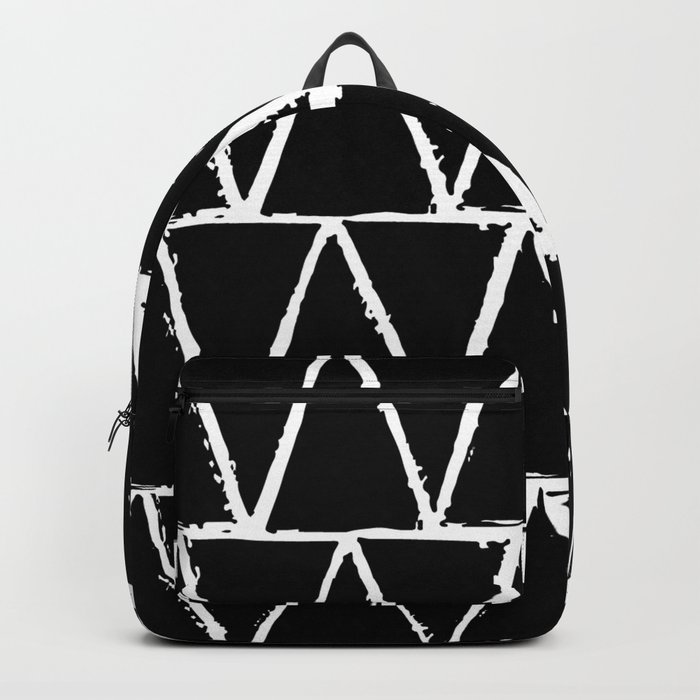 Simple Geometric Zig Zag Pattern- White on Black -Mix & Match with Simplicity of life Backpack