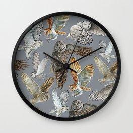 Snowy Owl in Flight 2  Wall Clock