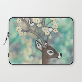 white tailed deer, white breasted nuthatches, & dogwood blossoms Laptop Sleeve