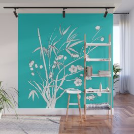 bamboo and plum flower white on blue Wall Mural