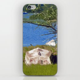 Painterly Photo Illustration Small Boat in Grass Under Summer Sun, Cape Cod iPhone Skin