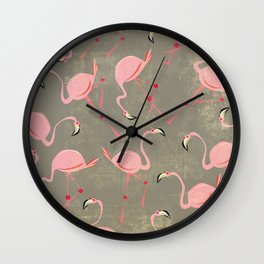 Grey Flamingo Pattern Wall Clock