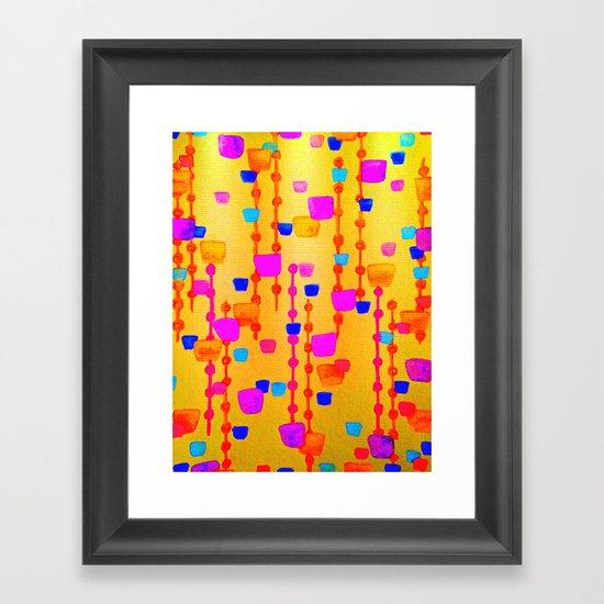 POLKA DOT MATRIX - Bright Bold Cheerful Dotty Geometric Squares Circles Abstract Watercolor Painting Framed Art Print