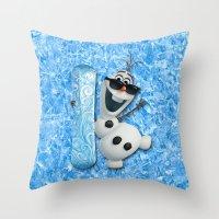 olaf Throw Pillows featuring SNOW MAN OLAF by BeautyArtGalery