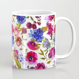Magenta pink navy blue lilac watercolor floral Coffee Mug