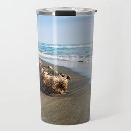 Beautiful sea, the black sandy beach and big old log, Tyrrhenian sea near Roma, Italy Travel Mug