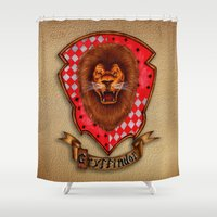 gryffindor Shower Curtains featuring Gryffindor shield emblem by JanaProject