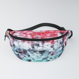 geometric square pattern heart shape abstract background in red pink blue Fanny Pack