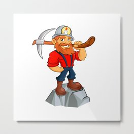 miner funny with pick.Prospector cartoon Metal Print